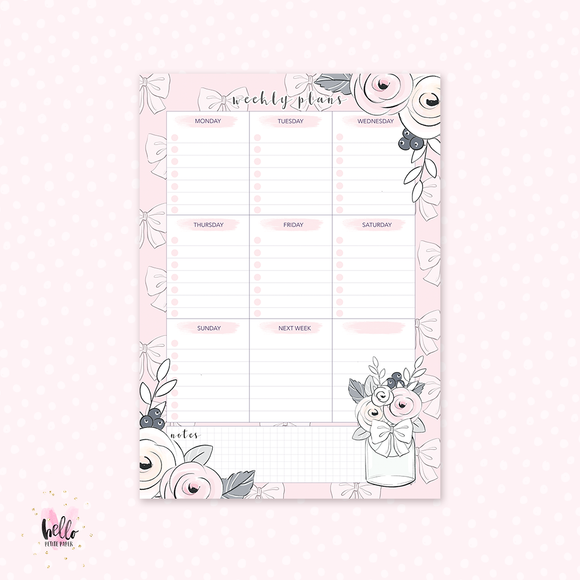 A5 Weekly Notepad - Floral - desk planner/ agenda