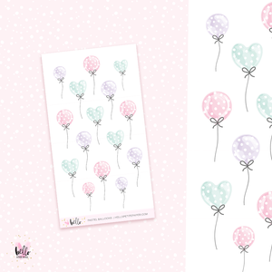 Pastel Balloons - mini planner stickers