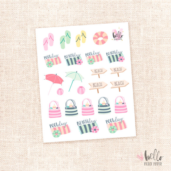Poolside - kit deco, planner stickers