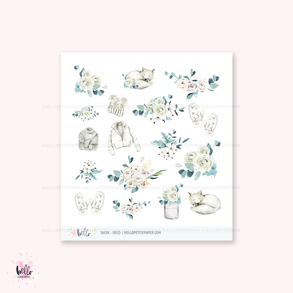 Snow - Kit deco, planner stickers