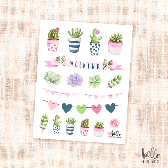 Succulents - kit deco, planner stickers