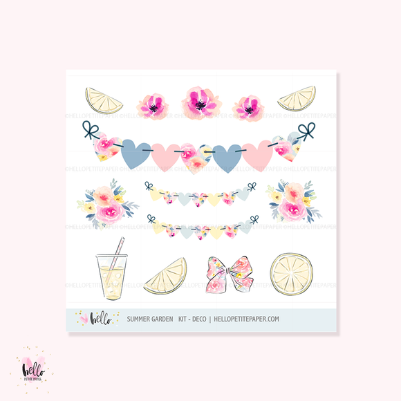Summer Garden - Kit deco, planner stickers
