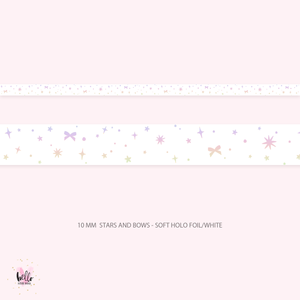 10mm holo foil washi - stars and bows on white