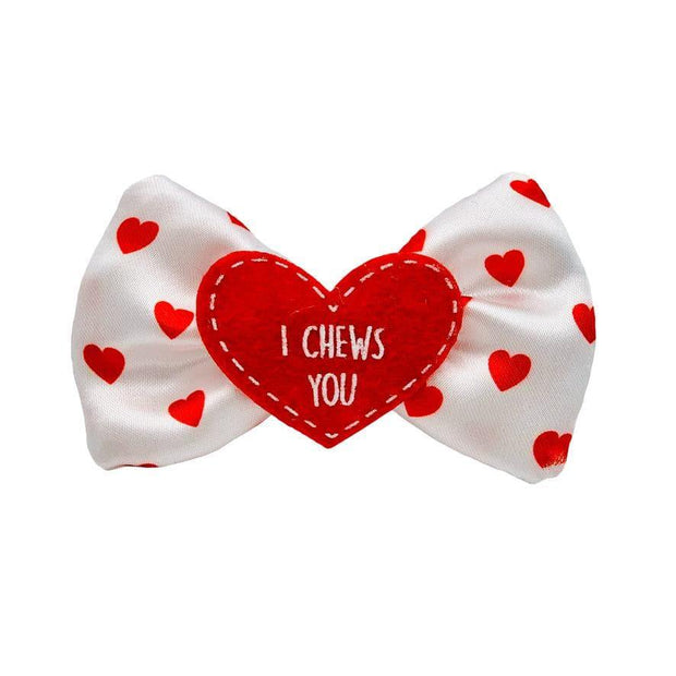 "Valentine's Day Dog Collar Bow ""I Chews You"""