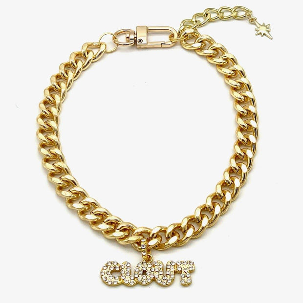 Clout Rhinestone Pendant Cuban Link Pet Chain Necklace