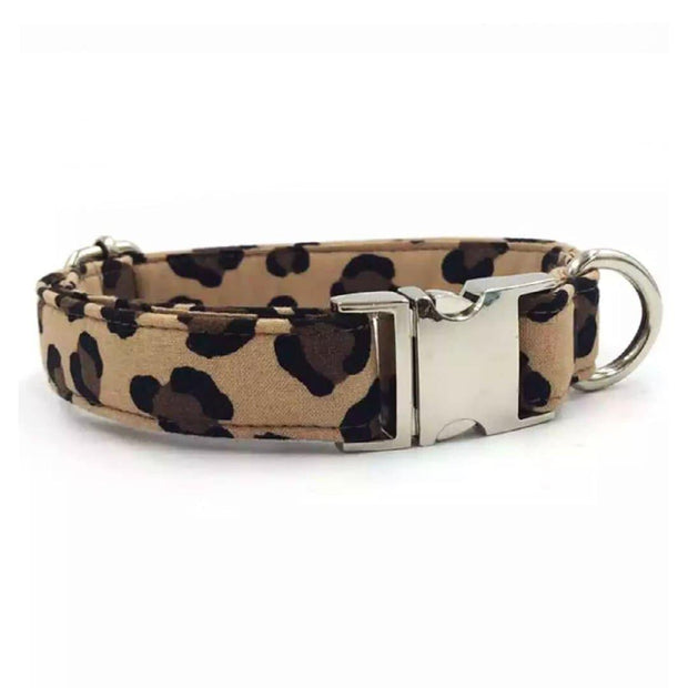 Leopard Print Dog Collar and Leash Set