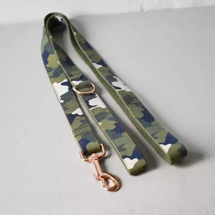 Army Green Camouflage Dog Collar and Leash Set