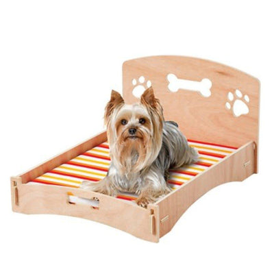 Wooden Pet Bed with Cushion