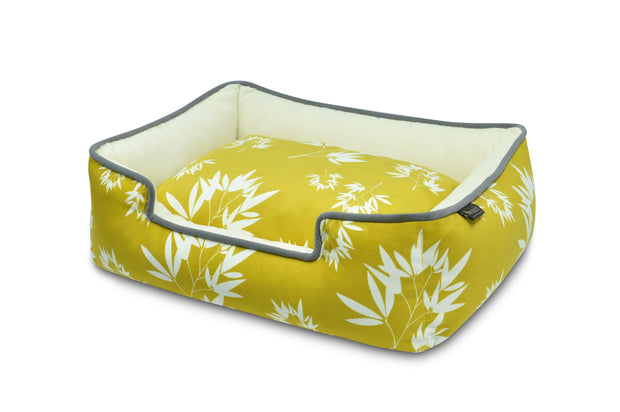 Bamboo Lounge Pet Bed - Yellow/Blue - Multiple Sizes