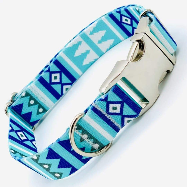 Dog Collars - Adjustable Cool Blue Winter Dog Collar