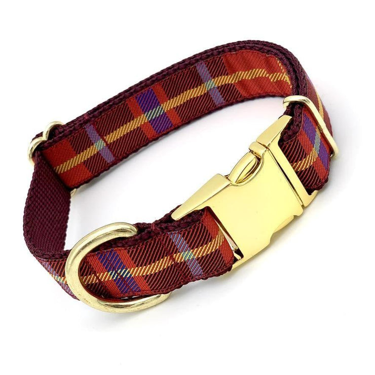 Dog Collars - Burgundy Plaid Dog Collar