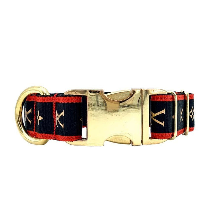 Dog Collars - Chic Designer Collar With Gold Buckle