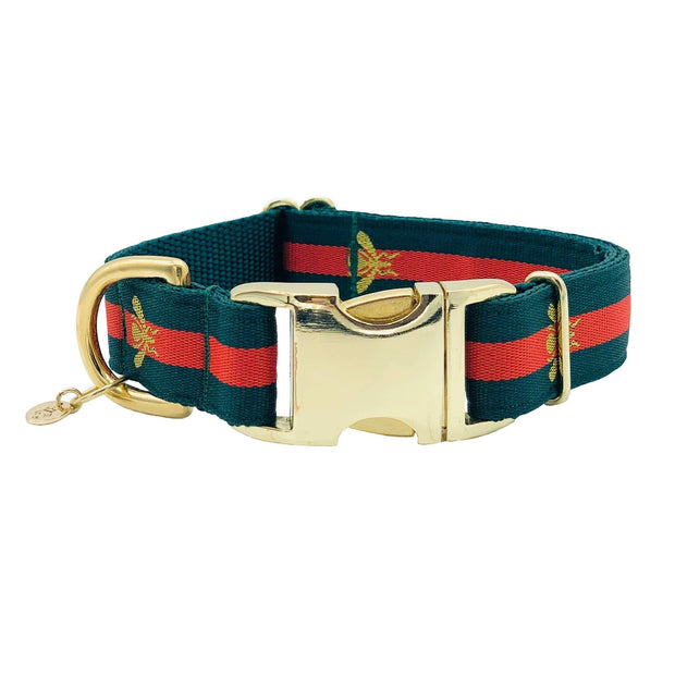 "Dog Collars - Designer Golden Bee Dog Collar - ""The Poochie"""