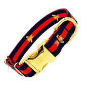 "Dog Collars - Designer Navy Golden Bee Dog Collar - ""The Navy Poochie"""