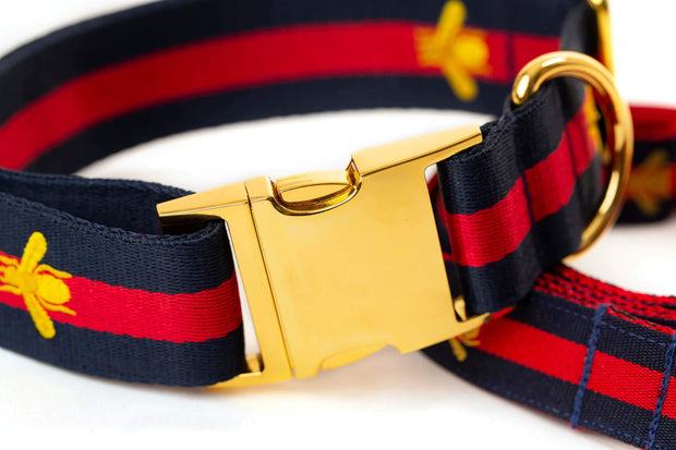 "Dog Collars - Designer Navy Golden Bee Large Dog Collar  - ""The Navy Grand Poochie"""