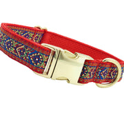 Dog Collars - Embroidered Red Dog Collar
