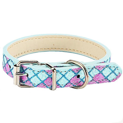 Dog Collars - Glittering Argyle Leather Dog Collar