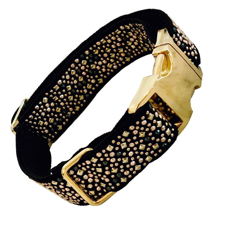 "Dog Collars - Gold & Silver Studded Dog Collar - ""The Celestial"""