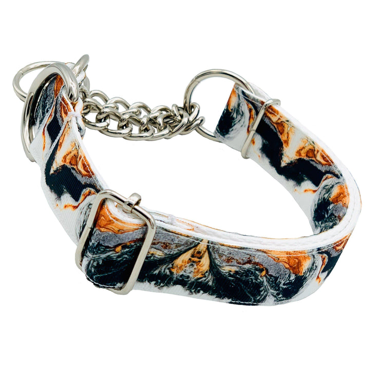 Dog Collars - Marble And Copper Martingale Dog Collar