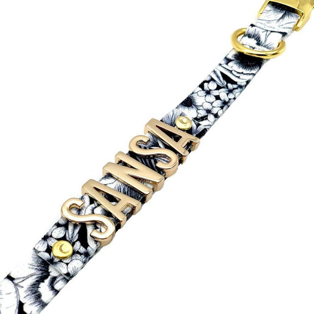 Dog Collars - Personalized Dog Collar With Gold Letter Slide Charms