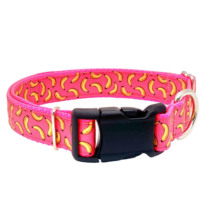Dog Collars - Pink Banana Print Dog Collar