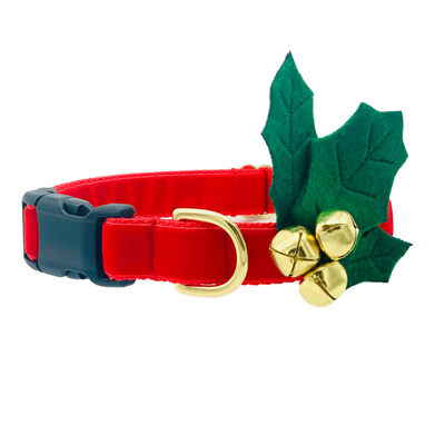 Dog Collars - Red Velvet Holiday Dog Collar With Holly Jingle Bells