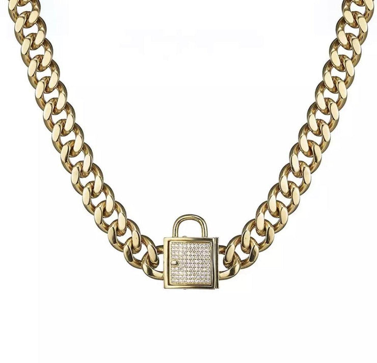 Dog Collars - Stainless Steel Gold Chain Collar With Pave Crystal Buckle