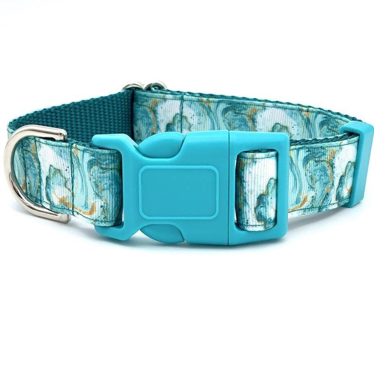 Dog Collars - Teal And Gold Marble Dog Collar