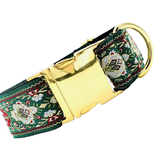 Dog Collars - Winter Green Embroidered Large Dog Collar