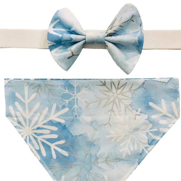 Dog Collars - Winter Snowflake Pet Bow Tie & Scarf Set