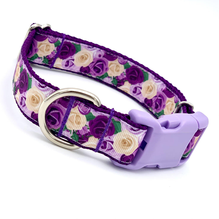 Lavender Roses Dog Collar