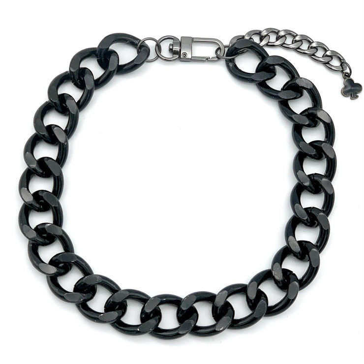 Black Cuban Link Chain Pet Collar Necklace