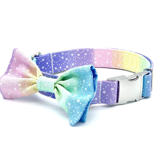 Starry Ombré Rainbow Dog Collar with Bow
