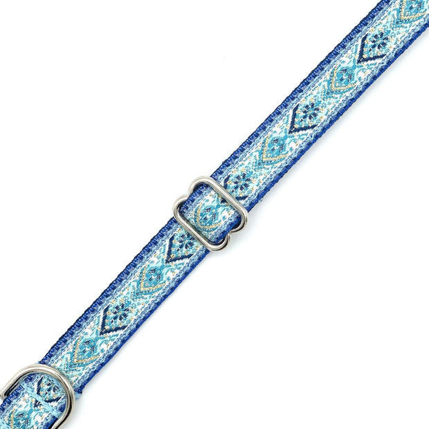 Snowy Blue Embroidered Dog Collar