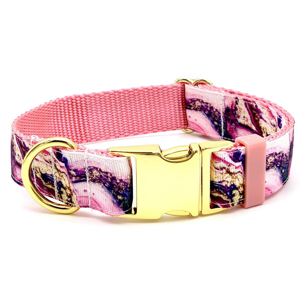 Melted Ink Pink and Gold Dog Collar