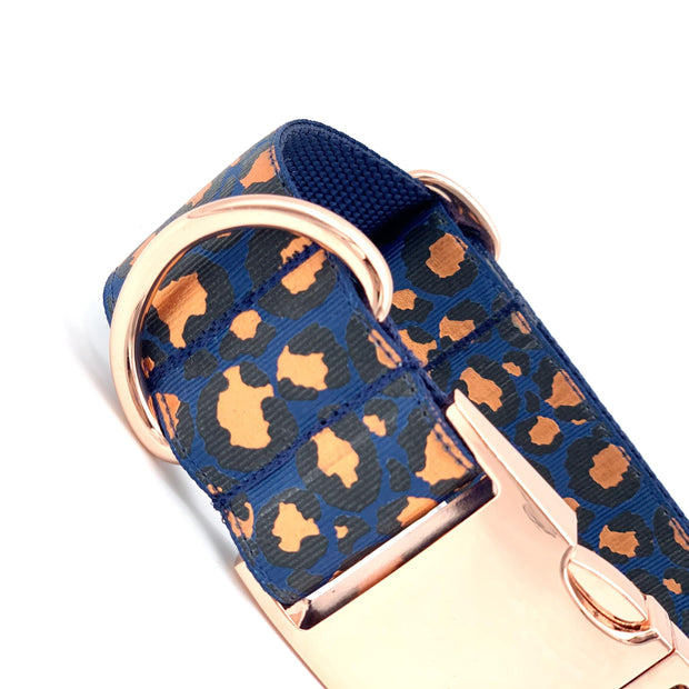 Metallic Leopard Large Dog Collar with Rose Gold Buckle