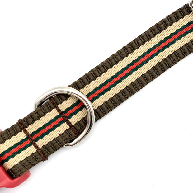 Tan and Red Striped Dog Collar