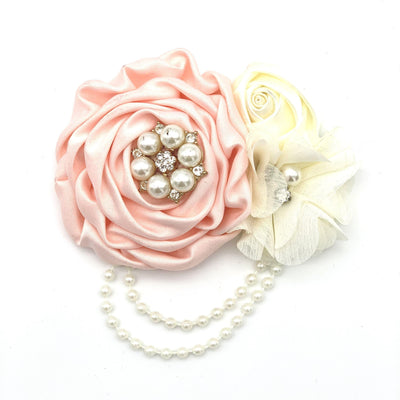 Satin and Pearl Dog Collar Bow