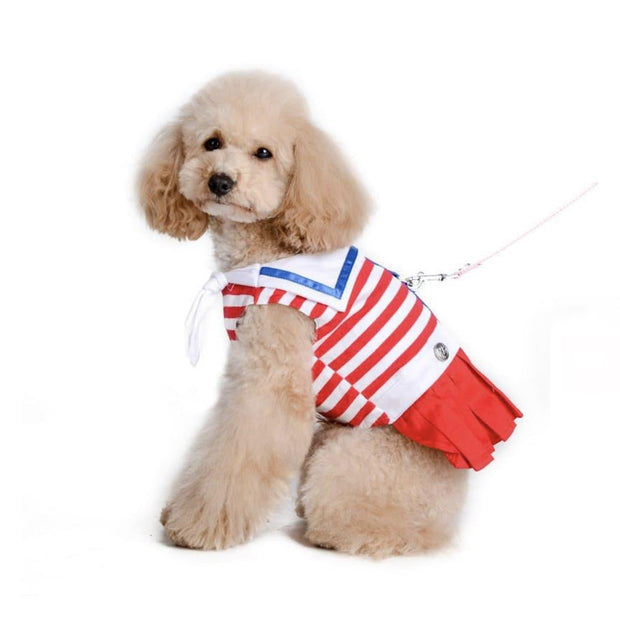 Pet Collars - Sailor Costume Dog Harness Dress