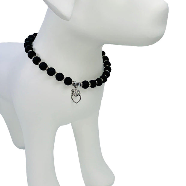 "Pet Jewelry - Black Pearl Pet Necklace Collar With Crown Jewel Charm - ""The Petit Noir"" By My Other Best Friend (MOBF)"