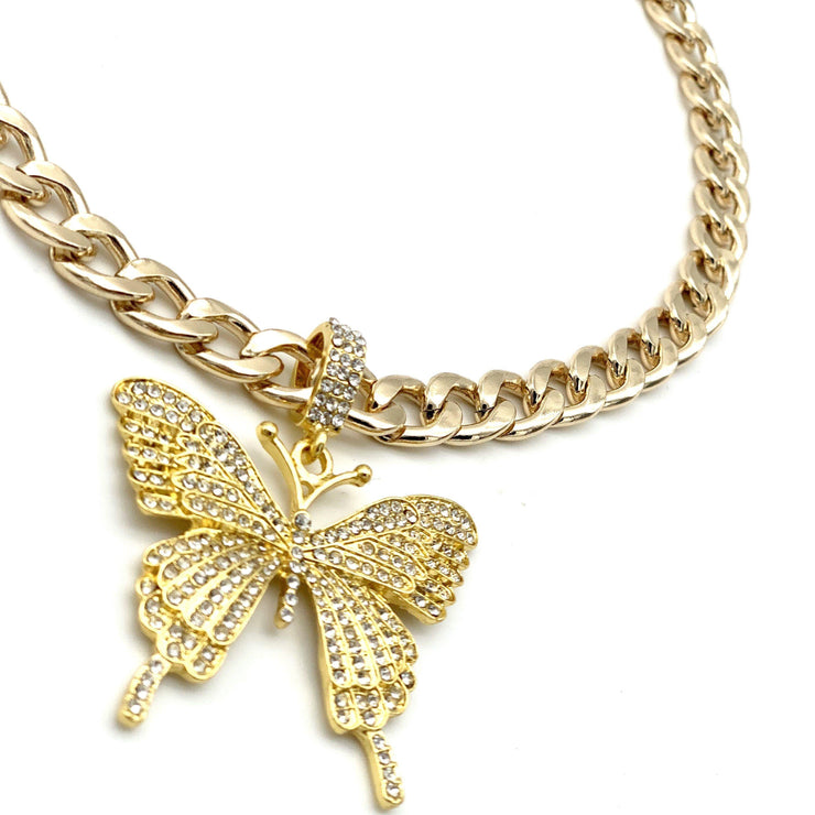 Pet Jewelry - Crystal Butterfly Pendant Gold Cuban Chain Pet Necklace