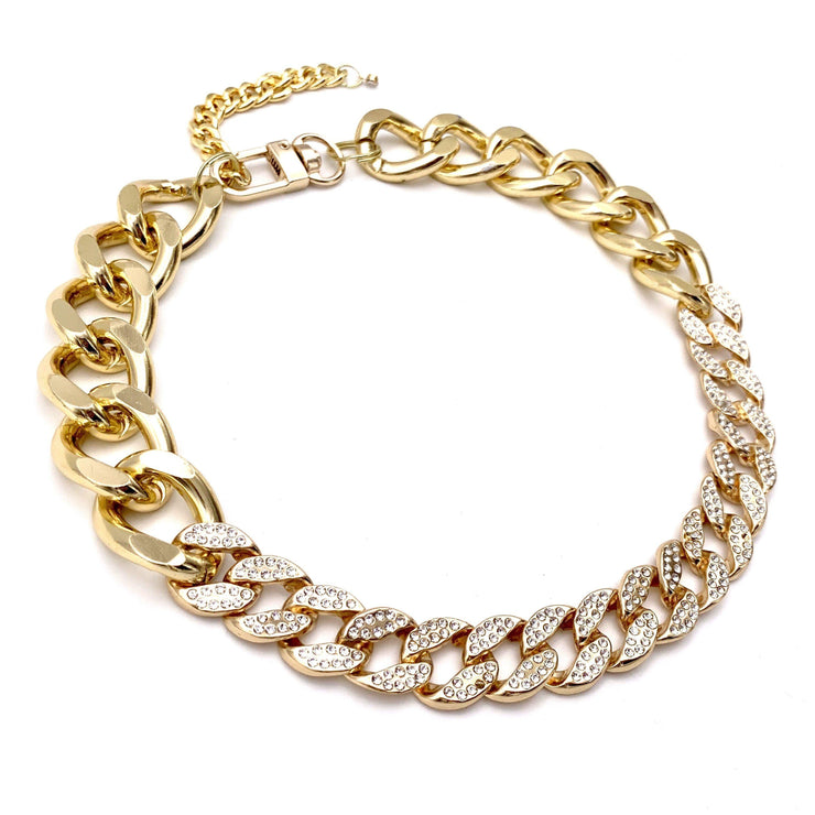 Pet Jewelry - Gold Cuban Link Chain And Rhinestone Pet Necklace