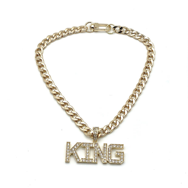 Pet Jewelry - King Rhinestone Pendant Gold Cuban Chain Pet Necklace