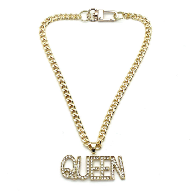 Pet Jewelry - Queen Rhinestone Pendant Gold Cuban Chain Pet Necklace