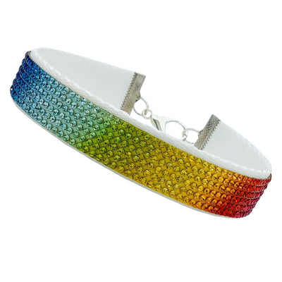 "Pet Jewelry - Rainbow Rhinestone Pet Collar Necklace - ""The Dorothy"" By MOBF"