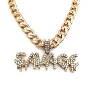 Pet Jewelry - Savage Rhinestone Pendant Gold Cuban Chain Pet Necklace