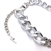 Pet Jewelry - Silver Cuban Link Chain And Crystal Rhinestone Pet Necklace