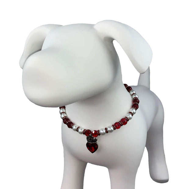 Pet Jewelry - The Crown Of Hearts - Crystal Heart Pet Necklace Collar