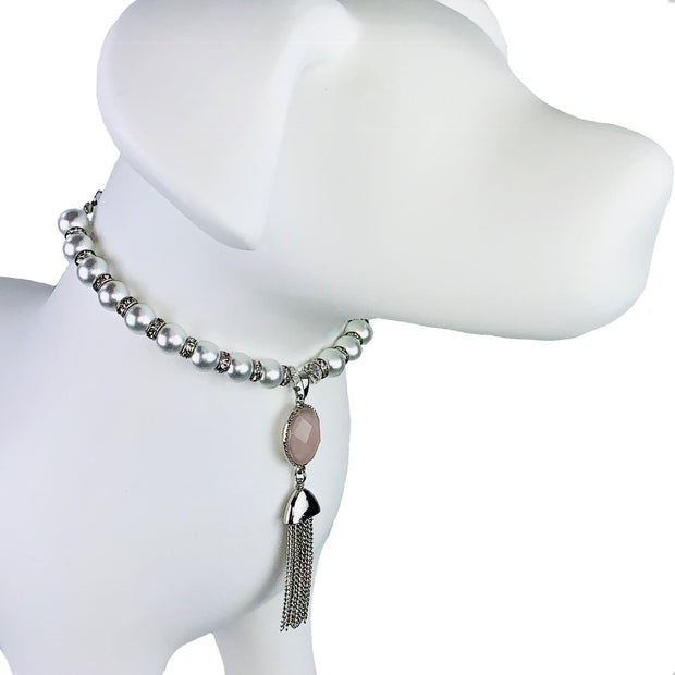 Pet Jewelry - The Rose Quartz Tasseled Pet Necklace