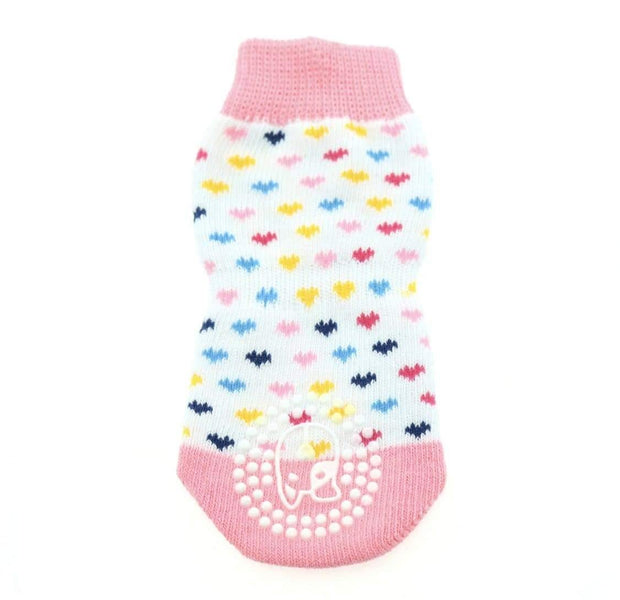 Pet Lifestyle - Anti-Skid Pink Hearts Dog Socks